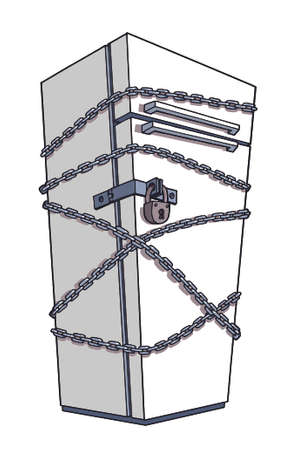 coiled: Diet  Refrigerator wrapped in chains