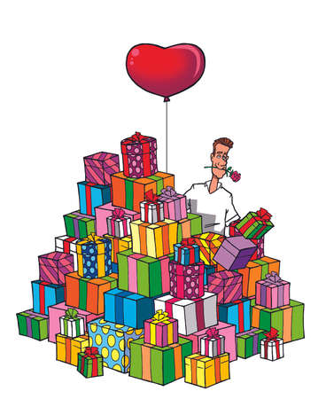 shoppping: funny lover man with heart balloon and a pile of gifts