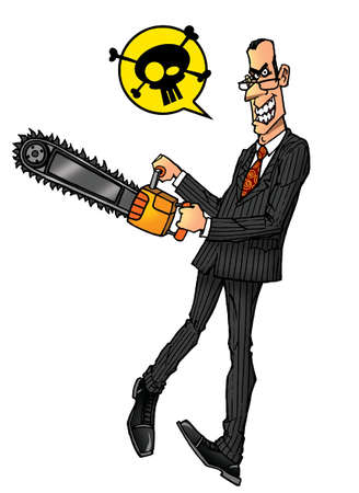 anger businessman maniac whith chainsaw