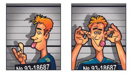 mug shot: Criminal mug shot of drunk joyfull man