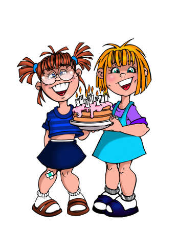 two girls with birthday cake photo