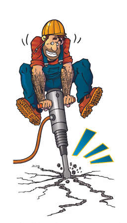 road work: workman with jackhammer