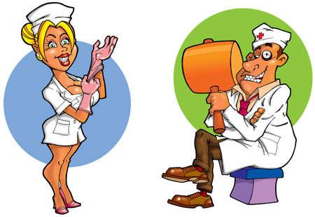 comic doctors in uniform  photo