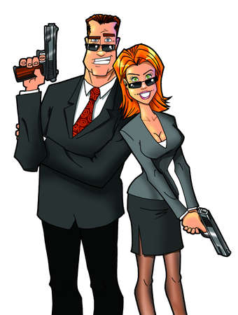 man and woman with guns  photo