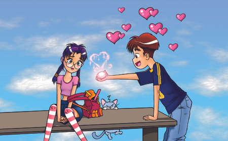 romantic boy and girl  photo