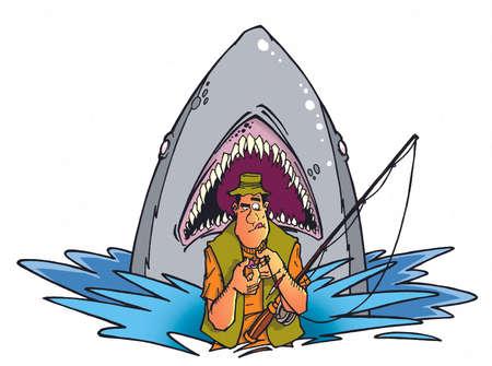 fisherman and shark