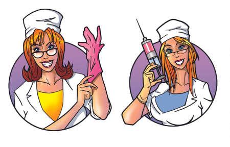 doctor gloves: female doctors Stock Photo