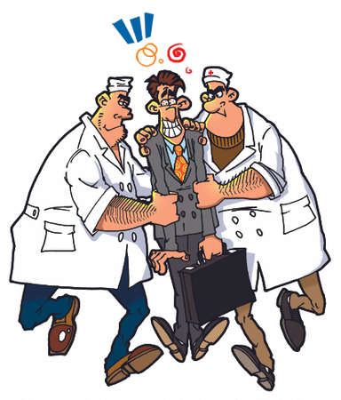 neurologist: two doctors and stressed man