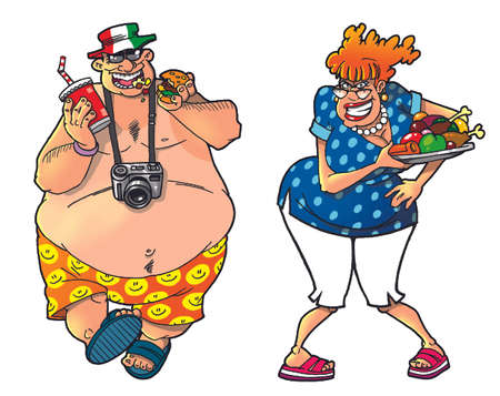 belly fat: Cartoon tourists, set1