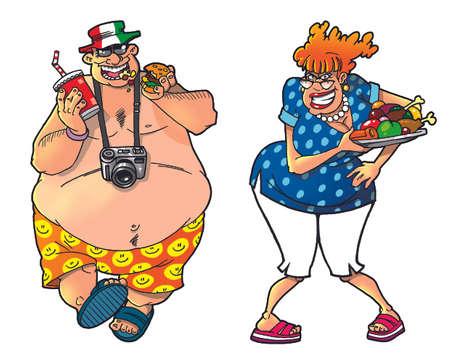 fat belly: Cartoon tourists, set1