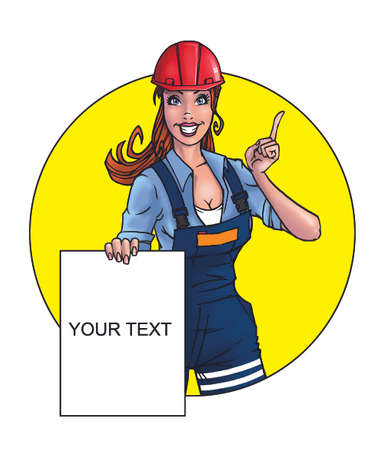 tradeswoman: Attractive constructor worker woman holding empty paper blank
