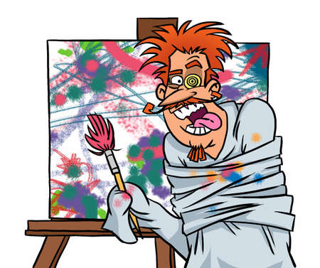 Mad painter at work Zdjęcie Seryjne