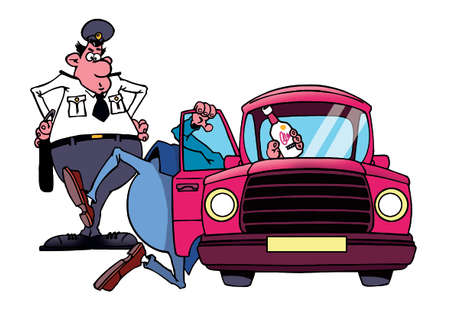 drunk driving: Drunk driver and policeman Stock Photo