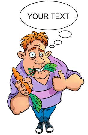 sad vegan with carrot Banque d'images