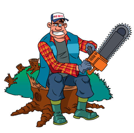 sawed: Lumberjack worker with chainsaw at forest