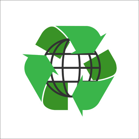 simple logo: recycle logo on a white background. green environmental sign. simple vector illustration. green vector isolated Illustration