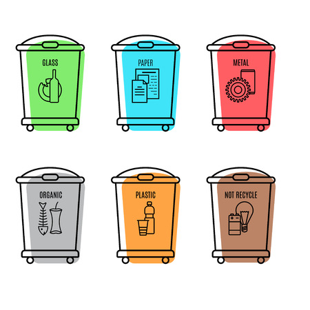 glass paper: set of trash can icon in line style.color vector illustration isolated on a white background. linear trash can sign.