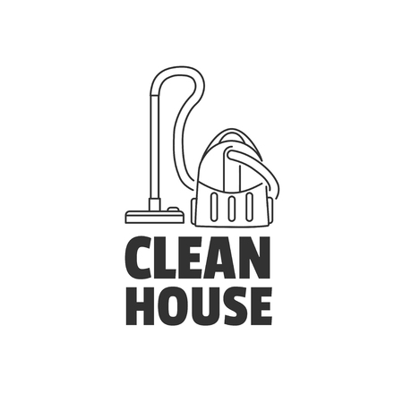 temlate: Vacuum cleaner in line style. Vector logo temlate isolated on a white background.