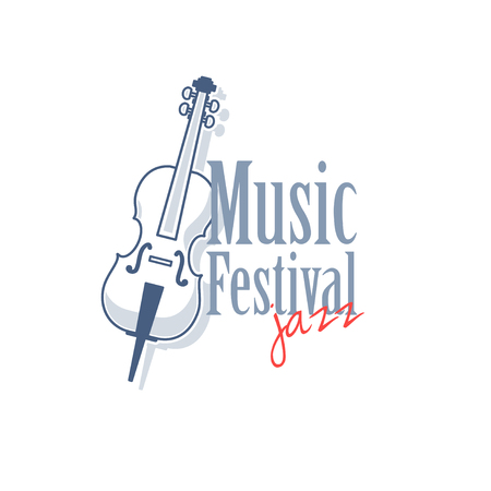 contrabass: Emblem with contrabass for jazz music festival. Vector illustration isolated on white background.