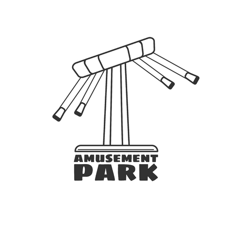 amusement park black and white: Logo for amusement park in black and white style. Vector template logotype isolated on a white background.