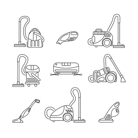 hoover: set of vacuum cleaners icon in line style. vector illustration isolated on a white background. linear hoover sign. set of different vacuum cleaner