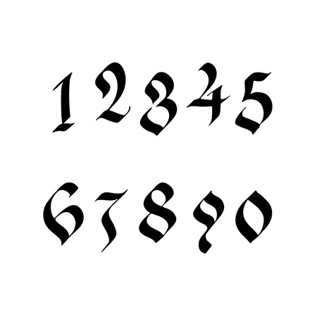 Handwritten Numbers In The Gothic Style Vector Illustration