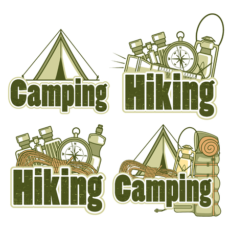 equipping: Set of logo templates for hiking and camping with different equipping. Vector label on a white background.