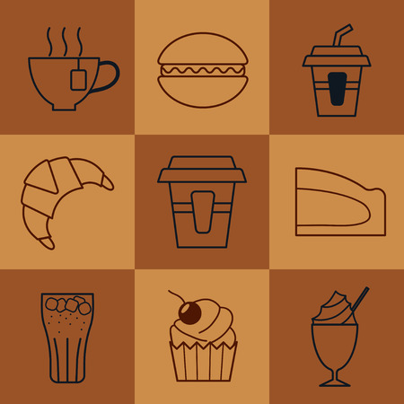 broun: set of fast food icons in line style.color vector illustration