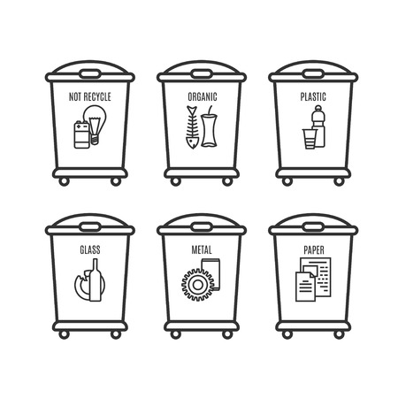 set of trash can icon in line style. vector illustration isolated on a white background. linear trash can sign.