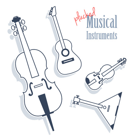 strum: A set of plucked instruments. Musical Instruments in monochrome style isolated on white background. Cello, guitar, violin, balalaika Illustration