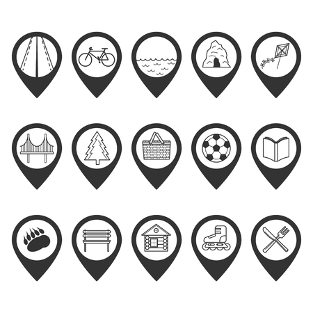 road bike: Set of map pointers with different icons inside. Road, bike, pond, cave, kite flying, bridge, wood, picnic zone, ball, book, wild animals, rest zone, camping, roller skates, restaurant.