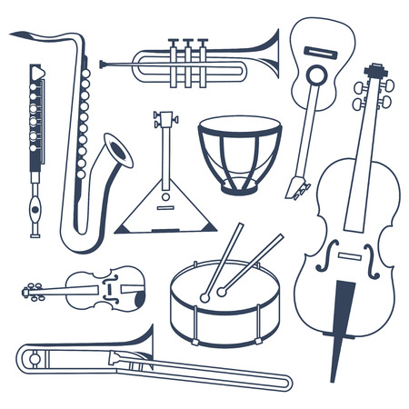 brass instrument: Set of different musical instruments. Musical Instruments in flat monochrome style isolated on white background. Sax, trumpet, flute, trombone, drums, kettle-drum, cello, guitar, violin and balalaika.