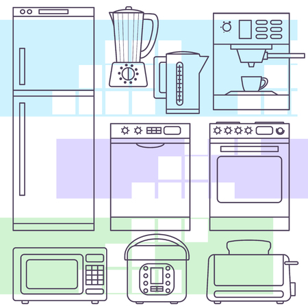 kitchen appliances: Kitchen appliances in line style Illustration