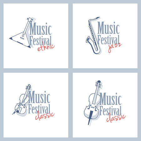 melodic: A set of different logos for musical festival. Ethnic music, classical music and jazz. Emblems with a balalaika, violin, saxophone and cello isolated on white background. Illustration