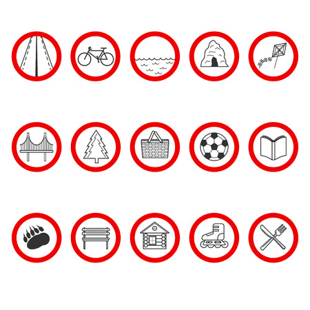 road bike: Set of icons with a different value in red circle. Road, bike, pond, cave, kite flying, bridge, wood, picnic zone, ball, book, wild animals, rest zone, camping, roller skates, restaurant.