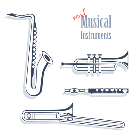 trombone: A set of wind instruments. Musical Instruments in monochrome style isolated on white background. Saxophone, trumpet, flute and trombone.