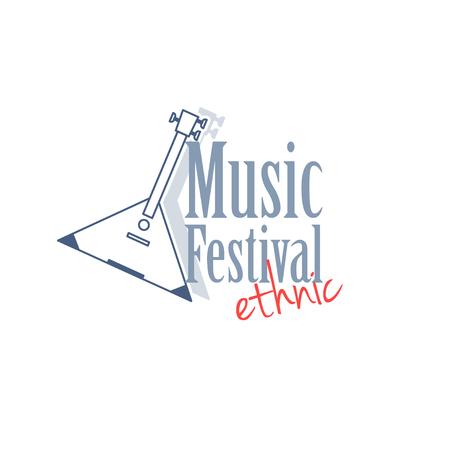 balalaika: Emblem with balalaika for ethnic music festival. Vector illustration isolated on white background.
