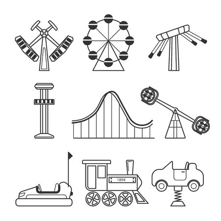 amusement park black and white: Icon set for amusement park or funfair attraction in black and white style. Vector icon set isolated on white background. Illustration