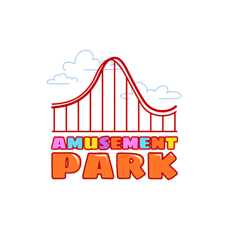 rollercoaster: Logo in line style for amusement park with rollercoaster. Vector template logotype isolated on a white background.