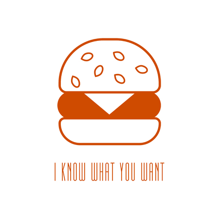 lunchroom: hamburger icon in line style. vector illustration isolated on a white background. linear burger symbol.
