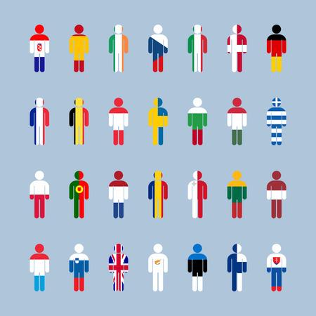 czech switzerland: Bandiere UE. illustrazione vettoriale su sfondo grigio. Archivio Fotografico