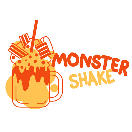 Monster Shakes in cocktail jars. Giant milk shake. Vector color illustration isolated on a white background.