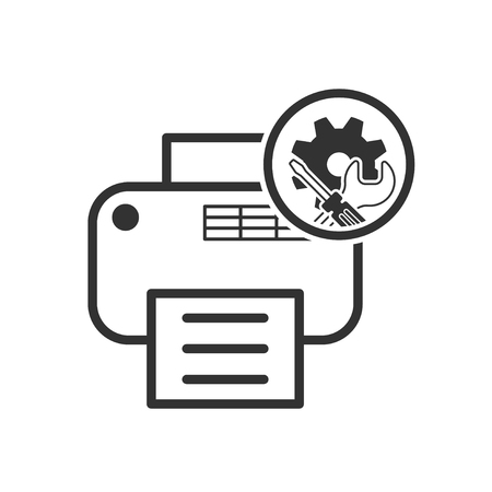 reconditioning: repair icon. printer service symbol. Vector illustration isolated on a white background.