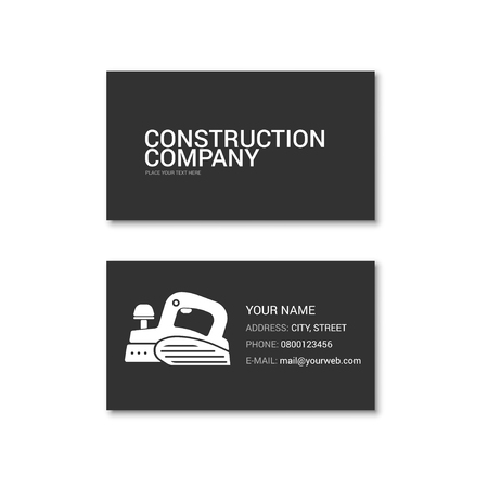 Simple business card of construction company. Technical support. Vector illustration isolated on a white background. Vetores