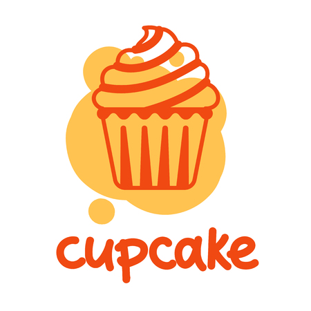 cupcakes isolated: Simple cupcake color draw.  Vector illustration isolated on a white background. Illustration