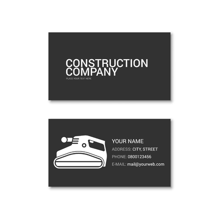 Simple business card of construction company. Technical support. Vector illustration isolated on a white background.