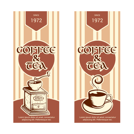 Set of vertical banner for coffee and tea shop. Hand drawn sketch. Vector illustration isolated on a white background.