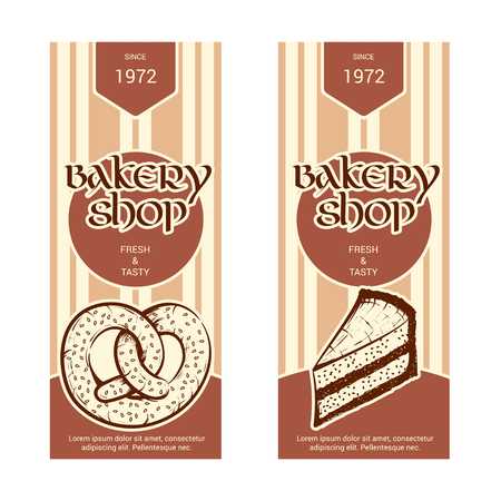 Set of vertical banner for bakery shop. Hand drawn sketch. Vector illustration isolated on a white background. Ilustrace