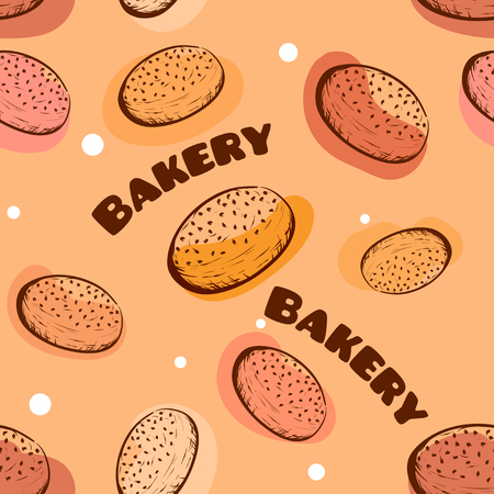 Seamless pattern for bakery shop. Hand drawn sketch. Color vector illustration. Ilustrace