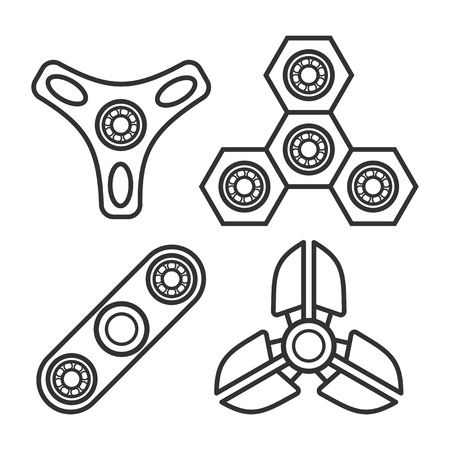 Set of hand spinner icons. Fidget toy. Vector illustration isolated on a white background.